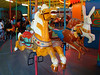 Very odd carousel - independently owned and operated.  It runs a fast clip but there are no jumpers - the horses were wood up until the 80's and were all replaced by Theel Aluminum animals