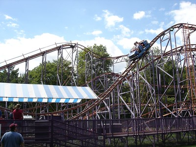 Schwarkopf Wildcat!  This popular compact German steel coaster used to be a dime a dozen at smaller parks, but there are less and less of them now.  This particular model has previously lived at Rye Playland and Steel Pier in Atlantic City.  It opened at Williams Grove in 2002.