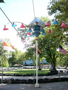 I think there are couple of these lamps around the park, but you don't see them like this anymore.