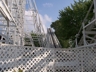 A nice view of the coaster track as you're walking in.