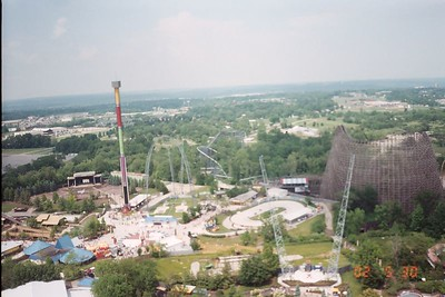 Son of Beast, Top gun, slingshot, skycoaster, And Drop Zone are all easily spotted in this shot.