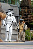 """The """"space village people"""" at Hyperspace Hoopla singing Y O D A - police man stormtrooper and biker ewok"""