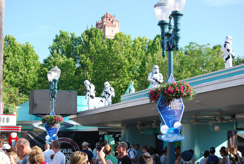 Stormtroopers have taken over the entrance to the park