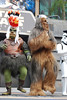 """The """"space village people"""" at Hyperspace Hoopla singing Y O D A - native american gammorean guard, navy Chewbacca"""