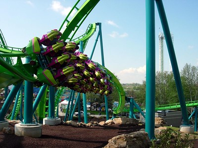 Hydra's JoJo Roll right out of the coaster's station.