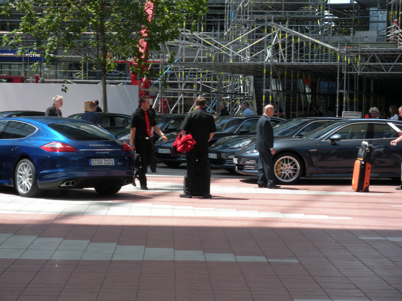 New 4-door Porsches on display at the Munich airport.