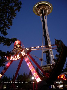 Rides at Enchanted Forest right under the Seattle Space Needle.