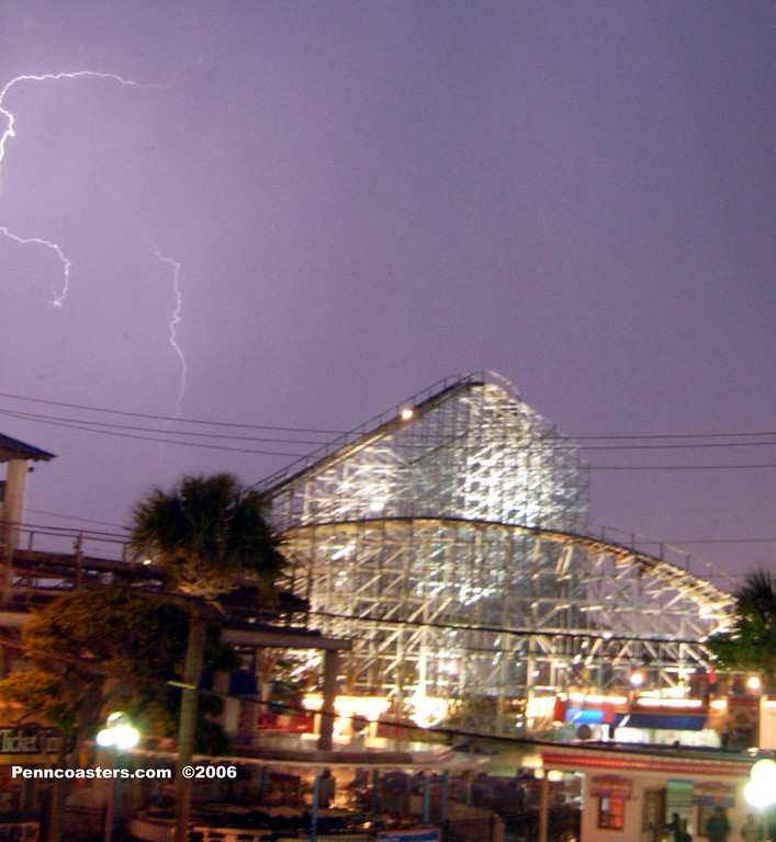 As a storm came Thundering through Myrtle Beach I got this shot from the Pavilion of the Hurricane.  Wish I had my tripod on me, I tried leaning on a poll while being buffeted by the winds, so it is a little fuzzy.