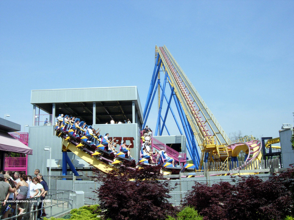 Nitro at Six Flags Great Adventure heads for the lifthill.