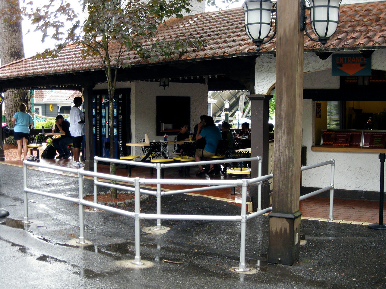 Poncho Cantina has new queue railings for the entrance.