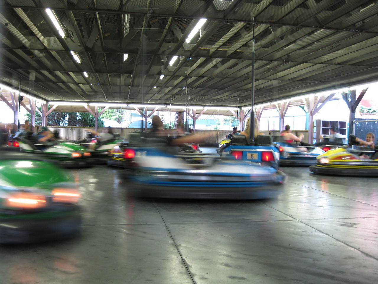 Dodgem cars in motion.