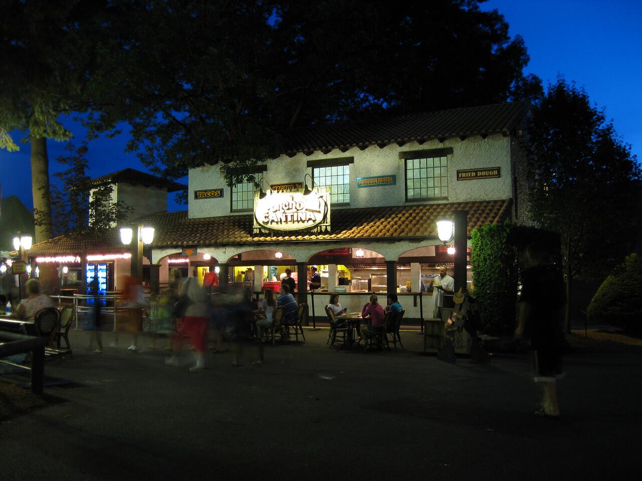 Poncho Cantina at night.