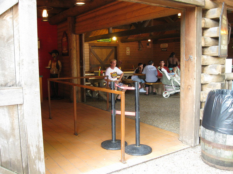 Part of the railing at the Dancing Bear Canteen had been removed, allowing direct access to the dining room.
