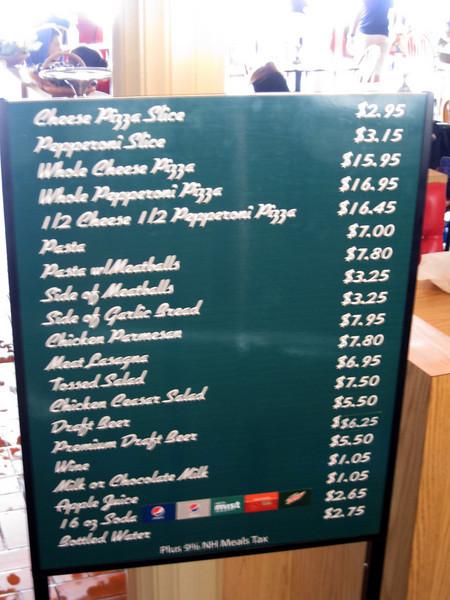 Portofino restaurant menu sign.