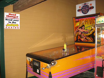Hercules, the world's largest pinball game, is in the Jackpot Casino building.