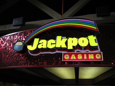 Jackpot Casino sign. It was raining, so I took refuge here.