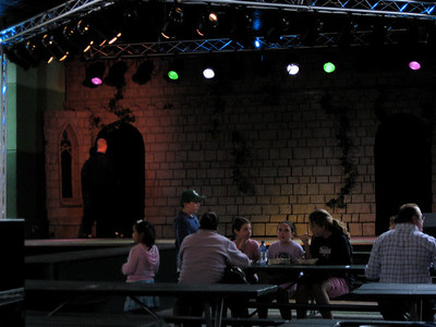 View of the stage from inside the Oktoberfest tent.