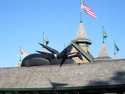 An inflatable spider on the entrance gate building.