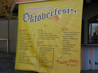 Giant Oktoberfest menu.