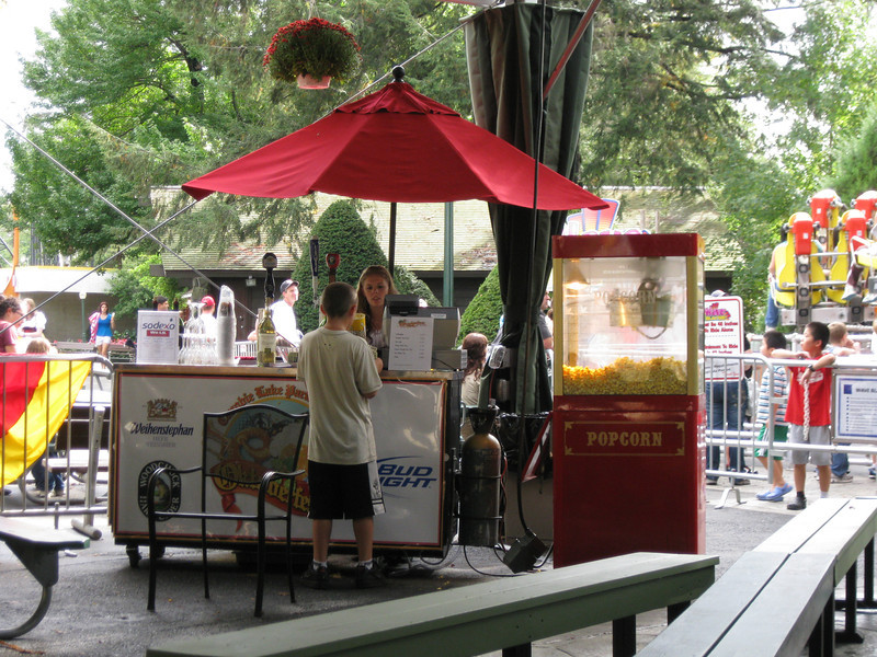 A beer stand in the Midway Stage tent.