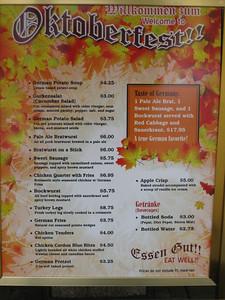Oktoberfest menu.