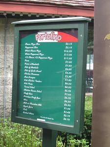 Portofino menu.