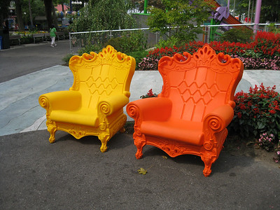 New, colorful, plastic chairs by Autobahn.