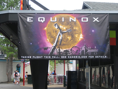 A banner for the new Equinox ride.