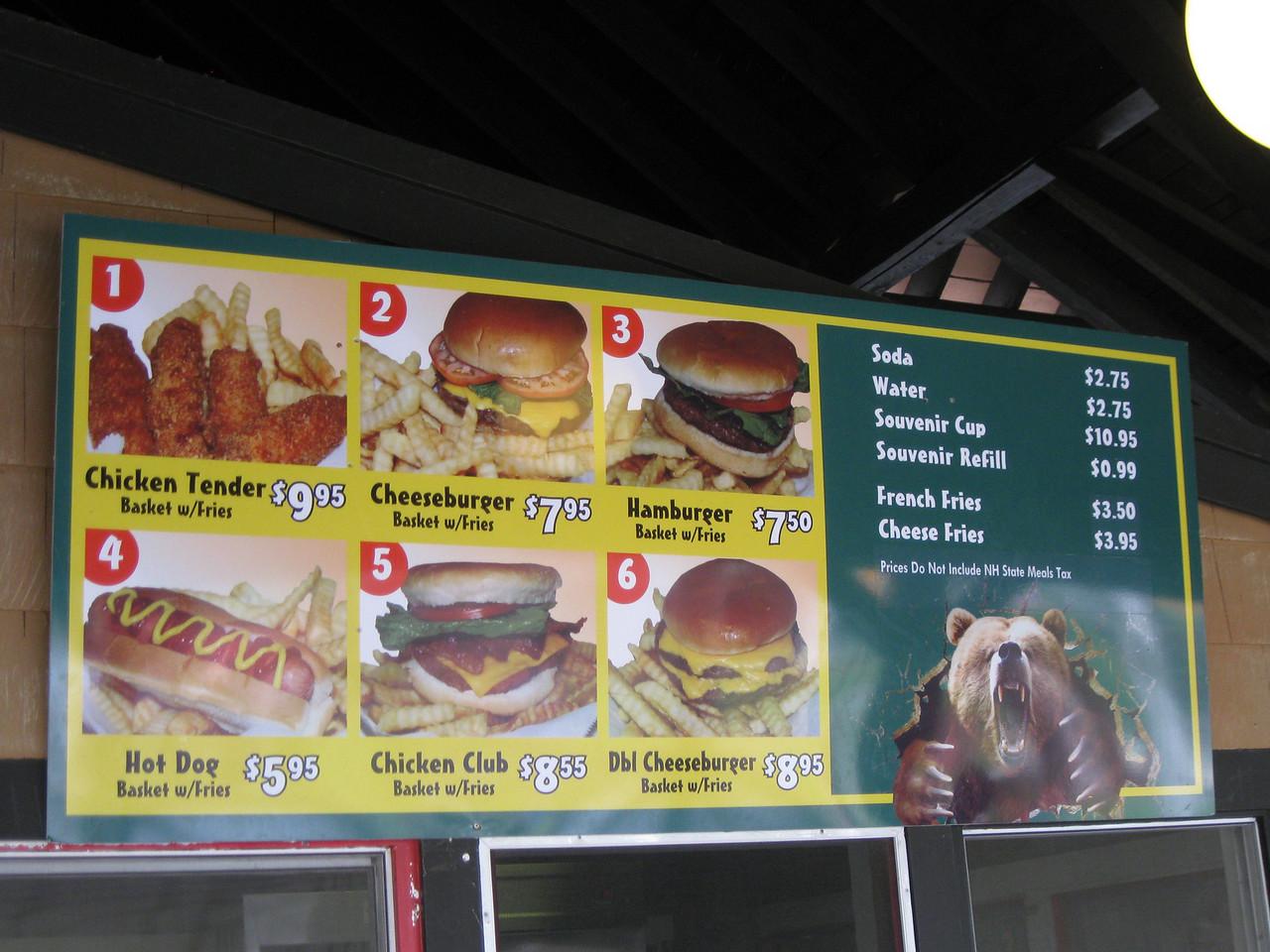 Gables Grill menu.