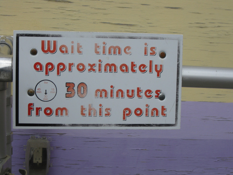 Wait time sign.