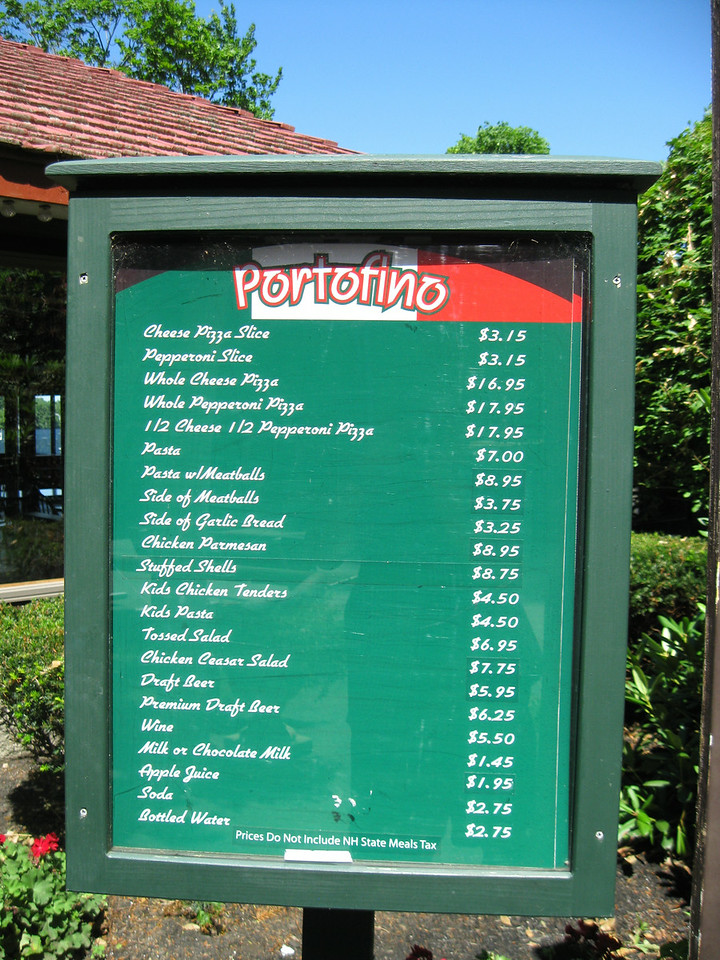 Portofino menu sign.
