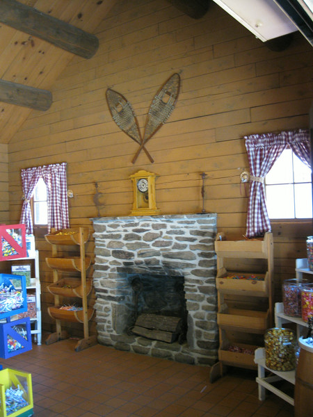 Fireplace inside the Candy Shoppe.