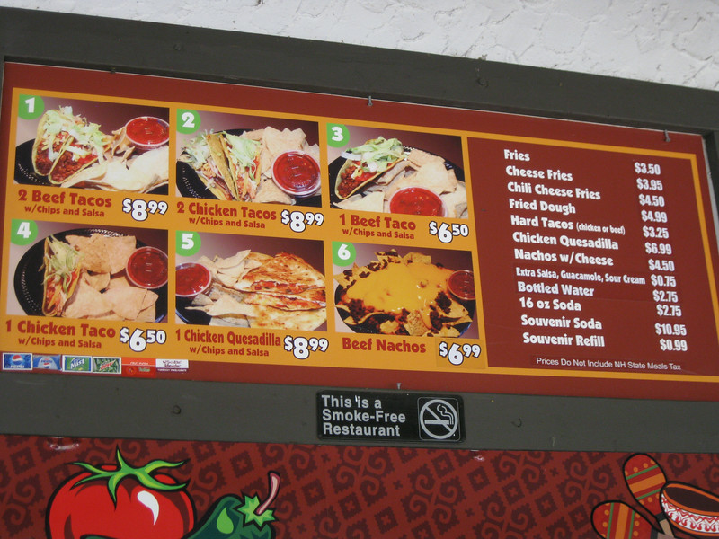 Poncho Cantina menu sign.