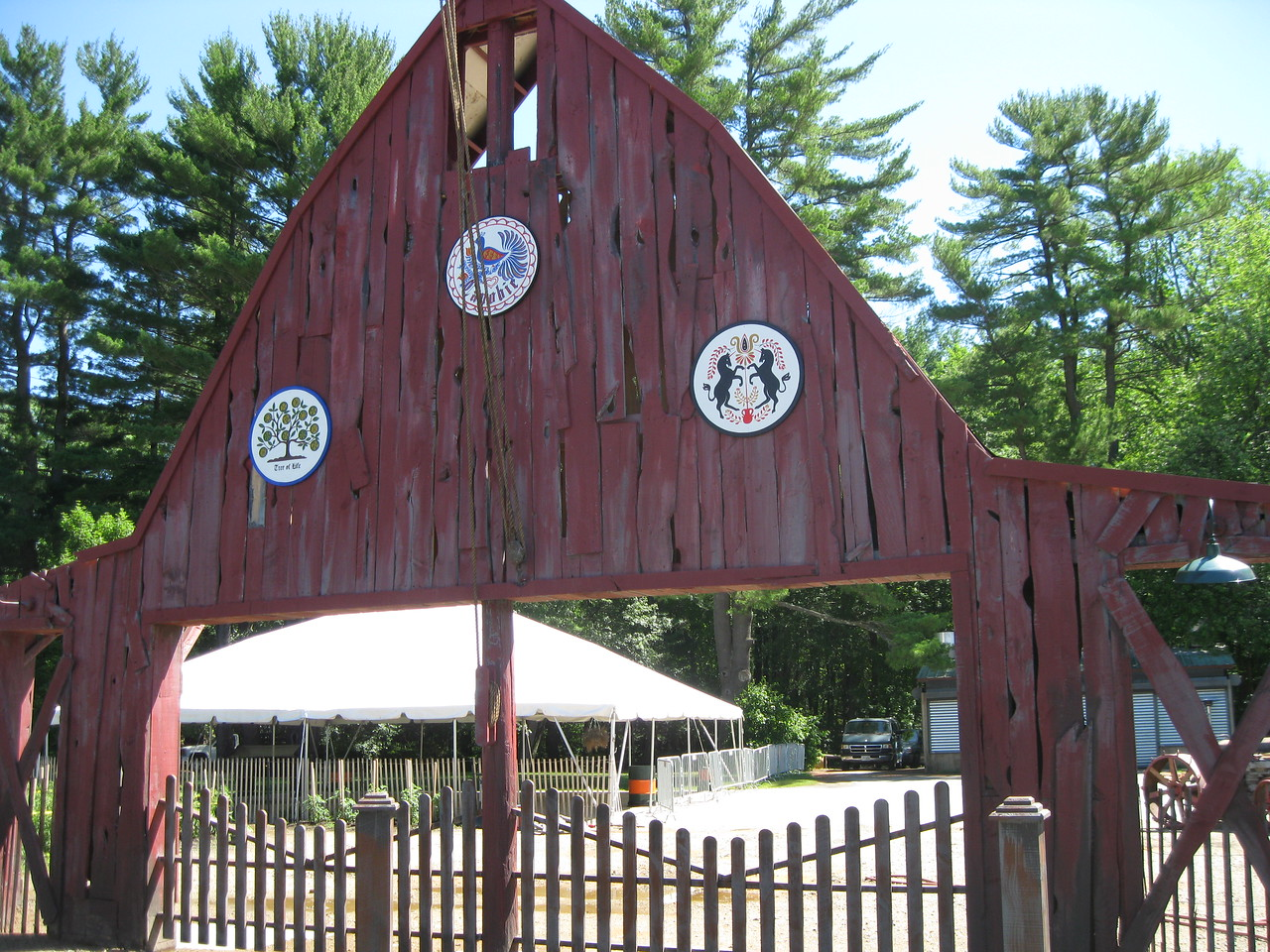 Barn facade with hex signs.