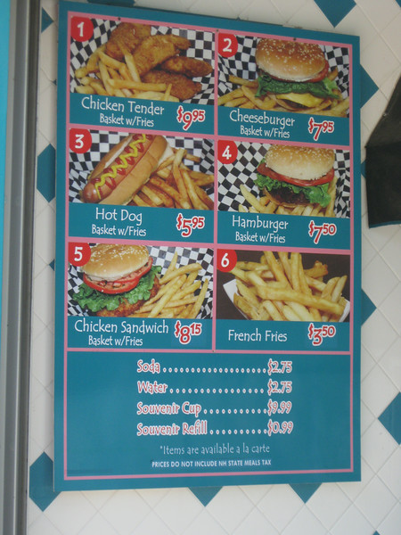 Be-bop Diner menu sign.