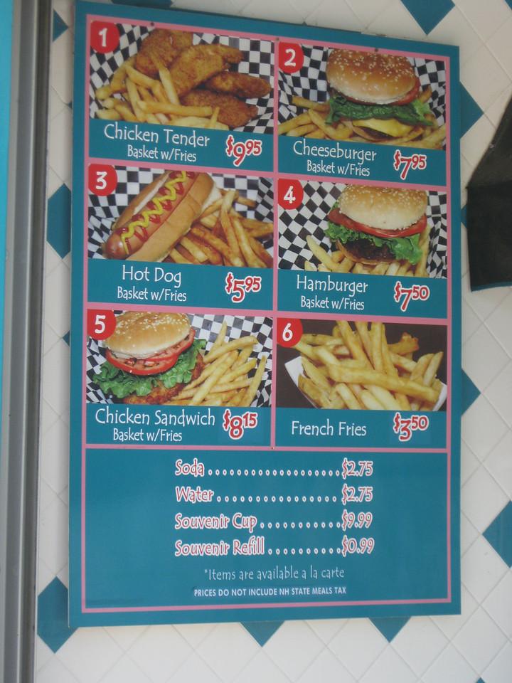 Be-bop Diner menu sign.
