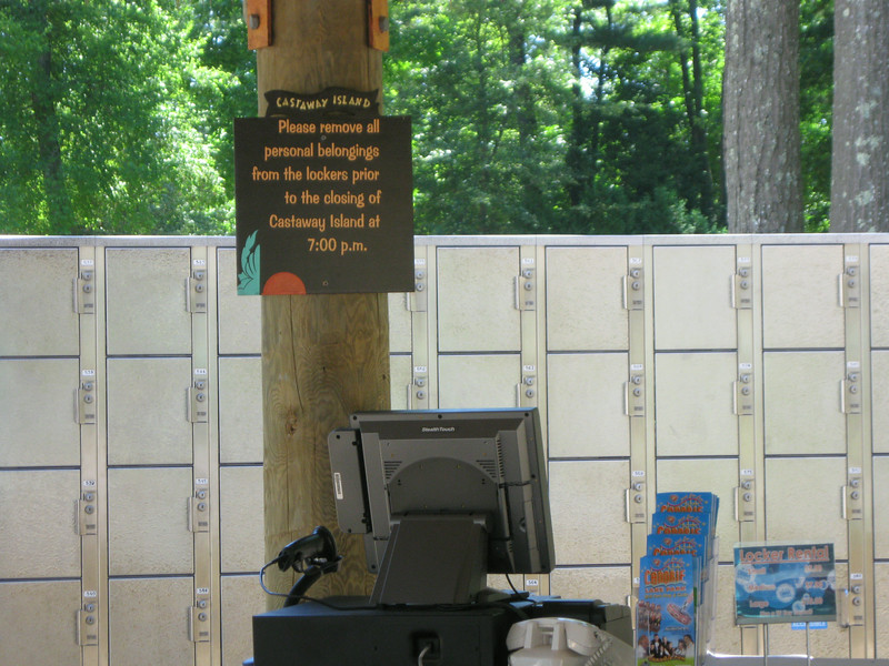 Castaway Island lockers are no no longer coin-operated.