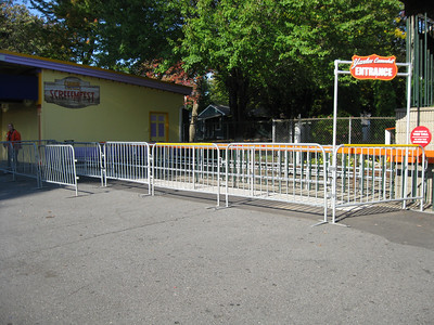 Ride queues were extended using portable crowd barricades.