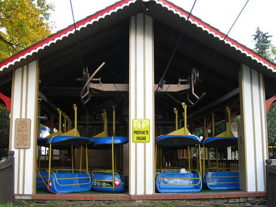 The Sky Ride cars were taken off the wire and stored in the back of the ride station.