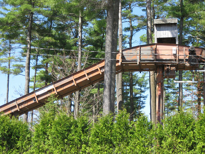 I didn't see any damage to the Policy Pond Log Flume lift hill.