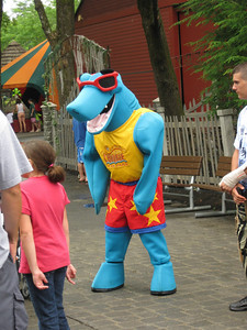 A new shark Canobie Critter costumed character.