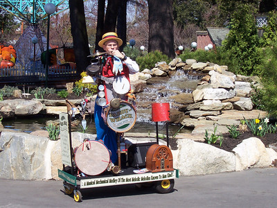 This was Canobie Lake Park's opening day. There was a one-man band.
