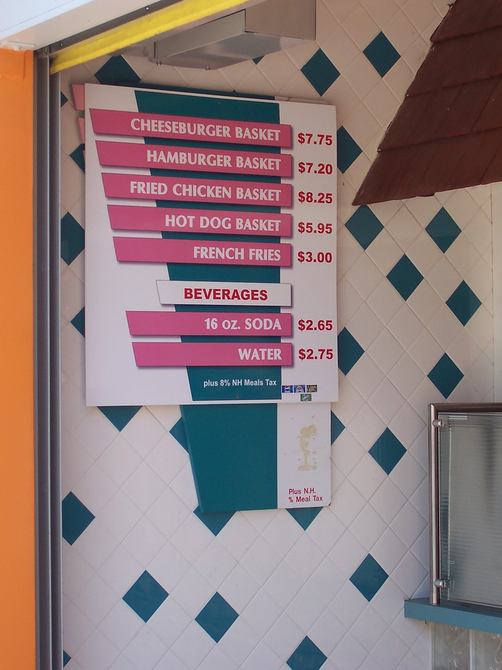 New Be-Bop Diner menu.