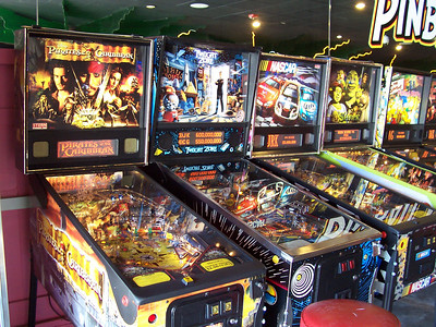 The current selection of pinball machines at the Palace Arcade.