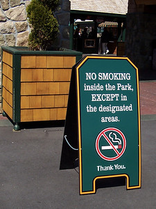 A new no-smoking sign outside the ticket booths. There were many of these signs, making it very obvious that Canobie had a new no-smoking policy.