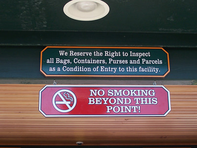 A no-smoking sign above the ticket booth.