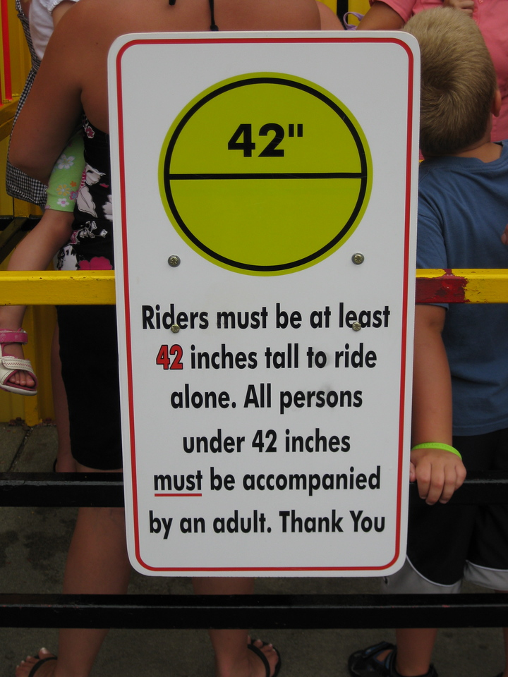 New Dragon Coaster height restriction sign.