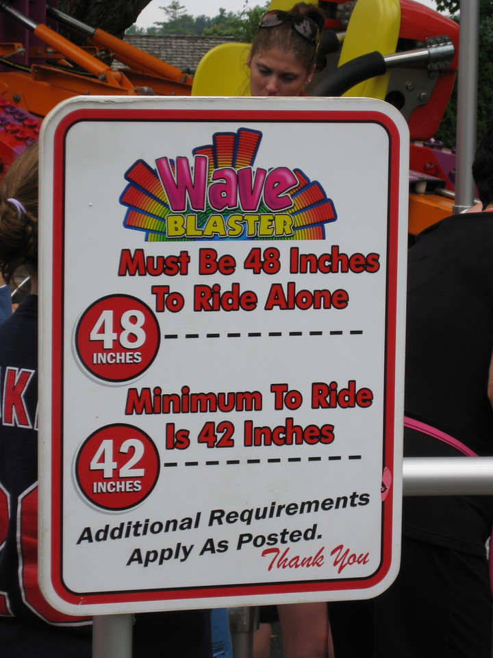 New Wave Blaster height restriction sign.