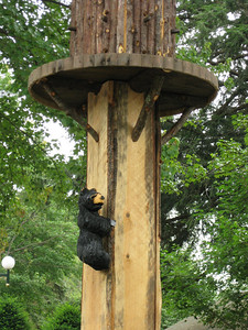 There's a little bear climbing the birdhouse pole!