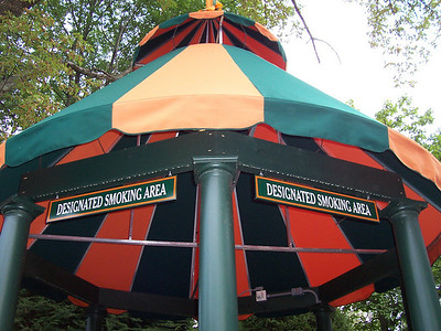 "The smoking gazebos now have ""Designated Smoking Area"" signs."